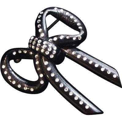 Large Lucite Rhinestone Bow Pin