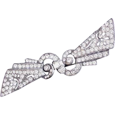 Art Deco Rhinestone and Pot Metal Pin