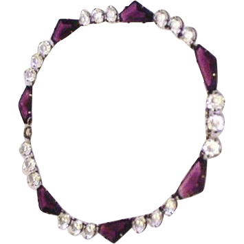 Art Deco Sterling and Crystal Necklace