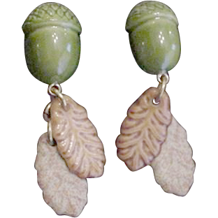 Fun Acorn and Oak Leaf Earrings