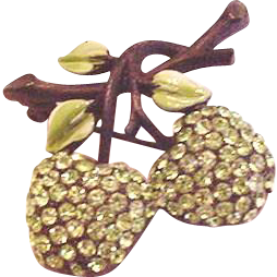 Sparkling Green Apple Rhinestone Pin from foreverfabulous on Ruby Lane