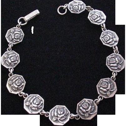 Sterling Silver Roses Bracelet