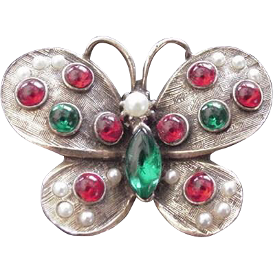 Vintage Mogul Colors Butterly Pin