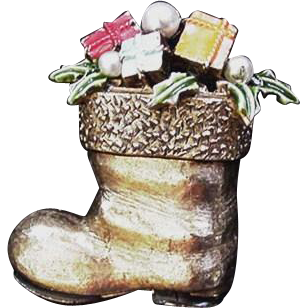 Art Christmas Boot Pin