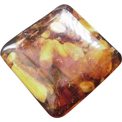 Cushion Shaped Amber Pin