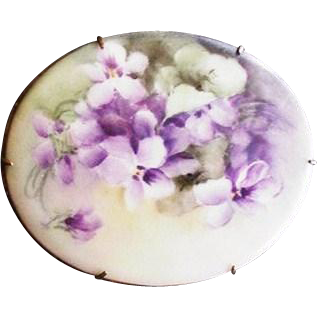 Large Oval Painted Porcelain Pin