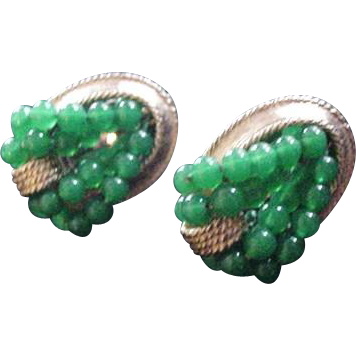 Ciner Green Glass Earrings