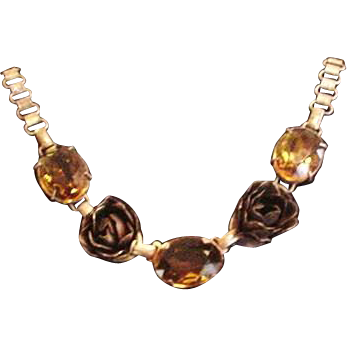 Topaz Glass and Brass Roses Necklace
