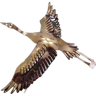 Graceful Flying Crane Fur Clip