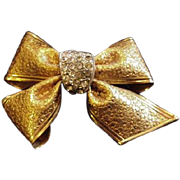 Fab Embossed Brass and Rhinestone Bow Pin
