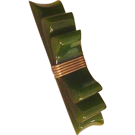 Olive Green Bakelite Bow Pin