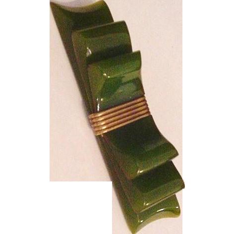 Olive Green Bakelite Bow Pin