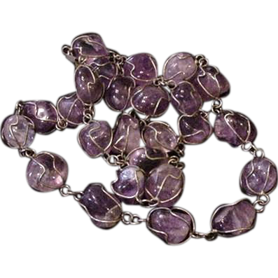 Vintage Caged Amethyst Necklace