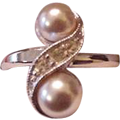 Faux Pearl and Rhinestone Ring