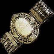 Old Brass and Glass Cameo Bracelet