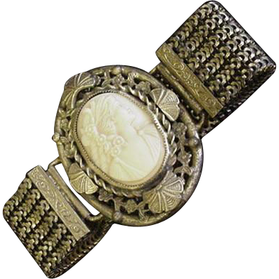 Old Brass and Glass Cameo Bracelet