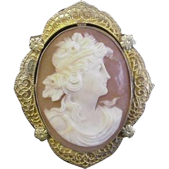Superbly Carved Cameo Pin