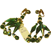 Long Dangling Teal Green Crystal Earrings NWT