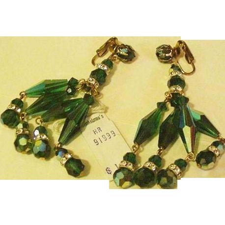 Long Dangling Teal Green Crystal Earrings NWT