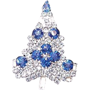 Sparkling Rhinestone Christmas Tree Pin