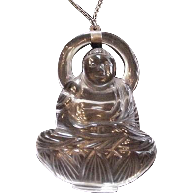 Carved Crystal Clear Quartz Asian Figural Necklace