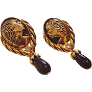 Regal Black American Cameo Earrings