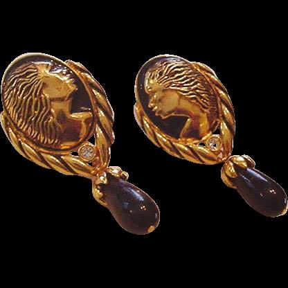 Regal Black American Cameo Earrings