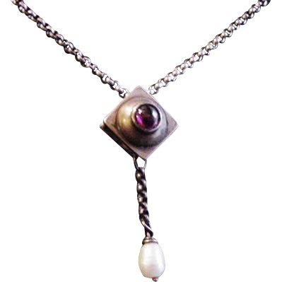 Mid Century Sterling Silver and Amethyst Necklace