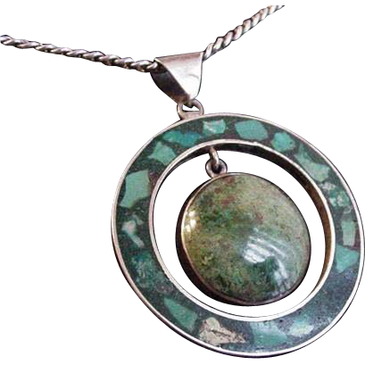 Taxco Sterling Chrysocolla and Turquoise Necklace