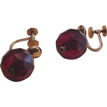 Vintage Cherry Amber Earrings
