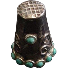 Sterling Silver and Turquoise Thimble