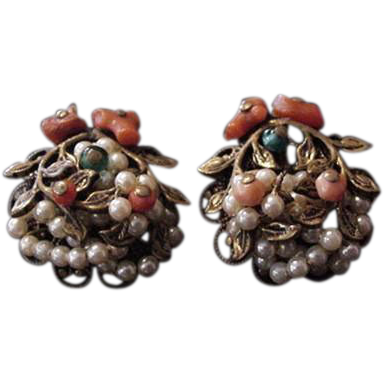 Brass and Coral Earrings