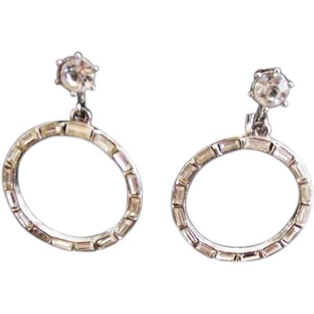 Flashy Baguette Hoop Earrings