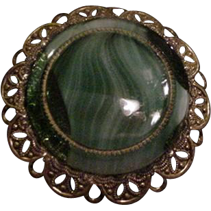 Brass and Green Glass Pin