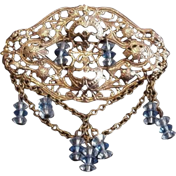 Filigree and Blue Crystal Pin