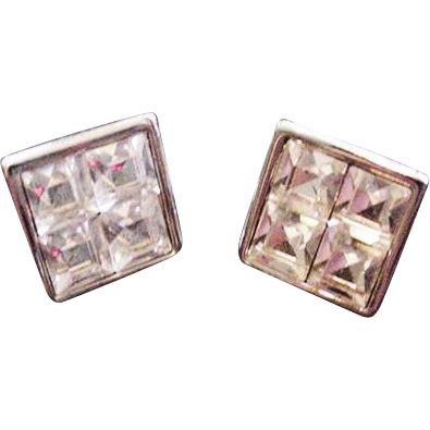 Swarovski Invisibly Set Rhinestone Earrings
