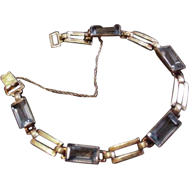 Sterling Silver and Rhinestone Art Deco Bracelet