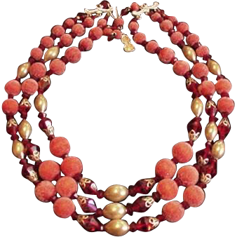 Cranberry Red Sugar Beads and Crystal Necklace