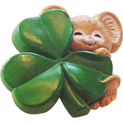Vintage Mouse with a Shamrock Pin