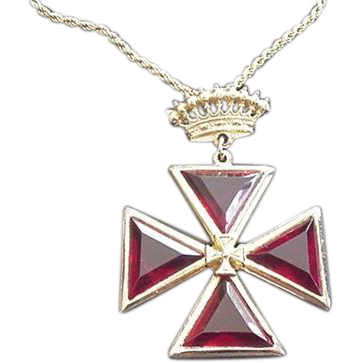 Red Maltese Cross Pin Pendant