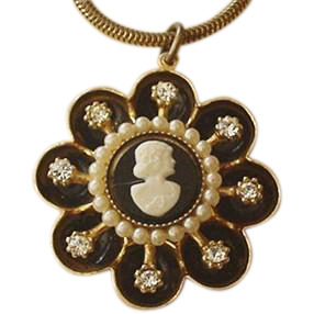 Coro Rhinestone Cameo Necklace