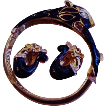 Black Panther Bracelet and Earrings