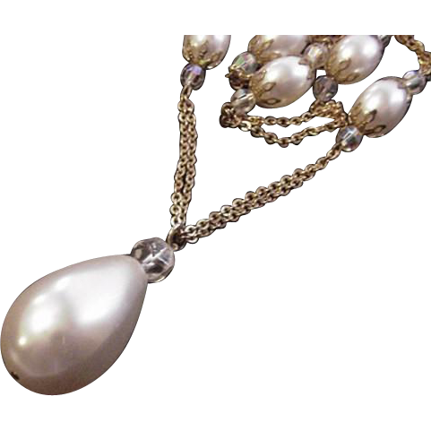Large Faux Pearl and Crystals Necklace