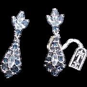 Trifari Blue Rhinestone Earrings