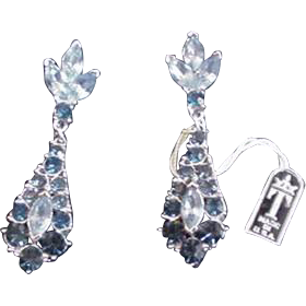 Trifari Blue Rhinestone Earrings