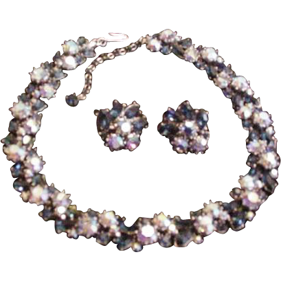 Trifari Blue Rhinestone Necklace and Earrings