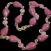 Raspberry Sorbet Glass Necklace