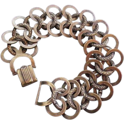 Art Deco Copper Circles Bracelet