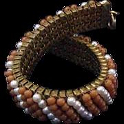 Vintage Faux Coral and Pearl Bracelet
