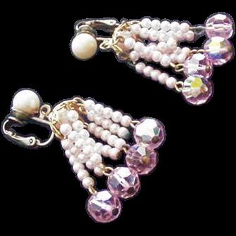 Pale Pink Crystal Earrings
